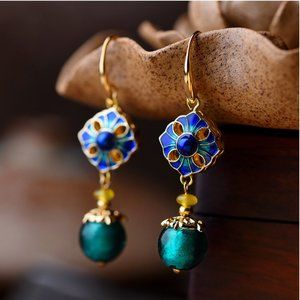 Flower Cloisonne Agate Earrings